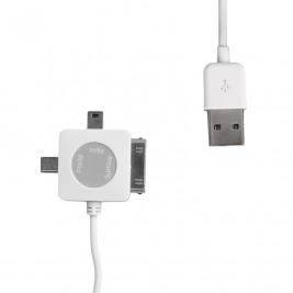 WE Datový kabel micro/mini USB/iPhone4 100cm bílý