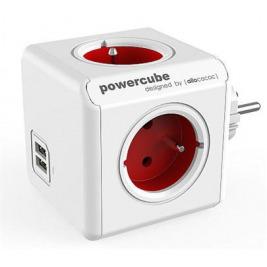 Zásuvka PowerCube ORIGINAL USB, Red, 4 rozbočka, 2x USB