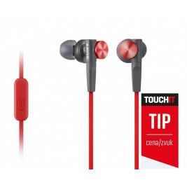 SONY sluchátka MDR-XB50AP, handsfree, červené