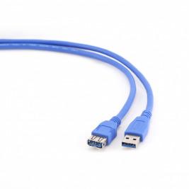 Kabel USB A-A 1,8m USB 3.0 prodlužovací, modrý
