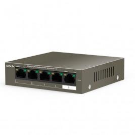 Tenda TEG1105P-4-63W PoE AT switch 4x PoE 802.3af/at, 5x 1 Gb/s, PoE celkem 63W, fanless