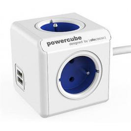 Zásuvka prodluž. PowerCube EXTENDED USB, Blue, 4 rozbočka, 2x USB, kabel 1,5m
