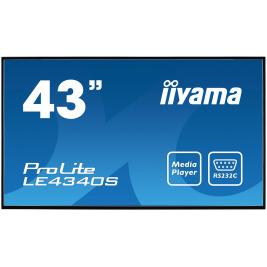43'' LCD iiyama ProLite LE4340S-B1 -FullHD,AMVA, 8ms, 350cd, USB 2.0 media player, RJ45, RS232C,repro