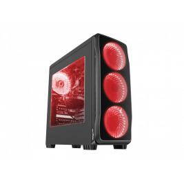Počítačová skříň Genesis Titan 750 RED MIDI (USB 3.0), 4 ventilátory s červeným podsvícením