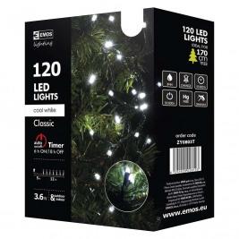 Vánoční řetěz 120 LED, 12m, studená bílá + časovač