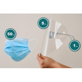 SET - okuliarový rám + 5 ks štítov + 50 ks ochranné rúško - ochrana pre pracovníkov prvého kontaktu