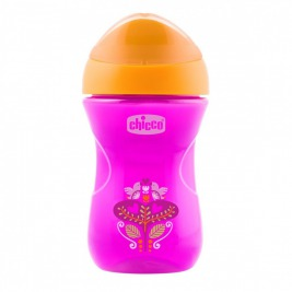 Hrnček Chicco Jednoduchý s tvrdým náustkom 266 ml, ružovo-oranžový 12m+