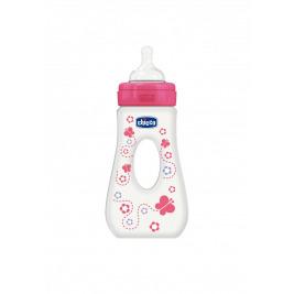 Fľaša Well-Being 0%BPA, 240ml slza, silik., rýchly prietok, ružová