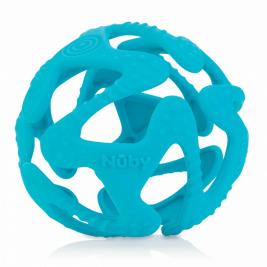 NUBY Hryzačka silikónová lopta svetlo modrá 3 m+
