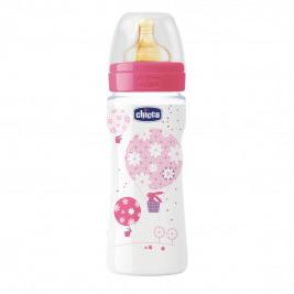 Fľaša bez BPA Well-Being kaučukový cumlík rýchly 330ml, ružová
