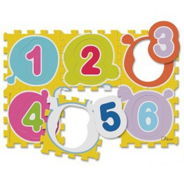 Puzzle penové Čísla 30x30cm 6ks, 12m+