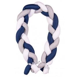 Mantinel do postieľky Vrkoč 200cm biela-sivá-modrá