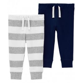 Nohavice dlhé modré, šedý pásik chlapec LBB 2ks, 9m