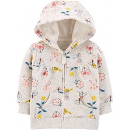 Mikina s kapucňou na zips Floral Hoodie dievča 12m
