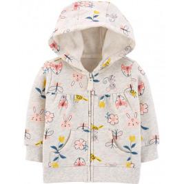 Mikina s kapucňou na zips Floral Hoodie dievča 6m