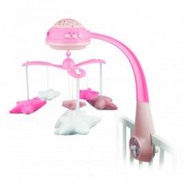 Kolotoč plyšový s projektorom hviezdičky ružový