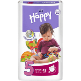 BELLA HAPPY Junior 5 (12-25 kg) 42 ks – jednorazové plienky
