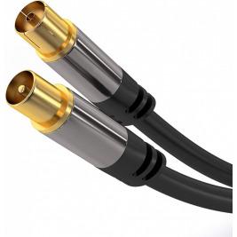 PremiumCord TV antenní HQ propojovací kabel M/F 75Ohm (135dB) 4x stíněný 3m