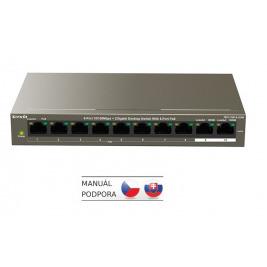 Tenda TEF1110P-8-102W PoE AT switch - 8x PoE 100 Mb/s + 2x Uplink 1 Gb/s, PoE max 102W, fanless