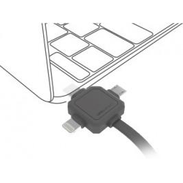 PowerCube USBcable USB-C CABLE, Black, multi-vidlice (MicroUSB, Apple Lithning, USB-C), kabel 1,5m