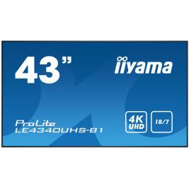43'' iiyama LE4340UHS-B1 - AMVA3,4K UHD,8.5ms,350cd/m2, 5000:1,16:9,VGA,HDMI,DVI,USB,RS232,RJ45,repro