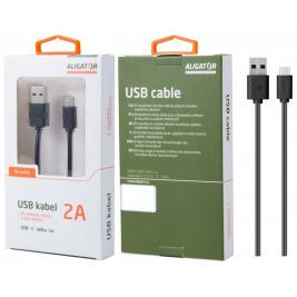 Datový kabel , USB-C, 2A, 1m, prodloužený konektor 7mm, černý