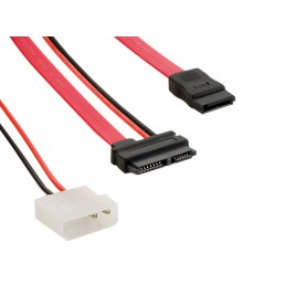 4World Kabel SATA3 13pin F - SATA3 7pin F+LP4 29cm