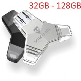 VIKING USB FLASH DISK 3.0 4v1 64GB, S KONCOVKOU APPLE LIGHTNING, USB-C, MICRO USB, USB3.0, stříbrná