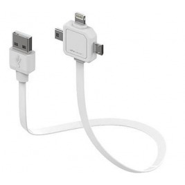 Data kabel PowerCube POWER USB CABLE, White, multi-vidlice (MicroUSB, MiniUSB, Apple Lightning)