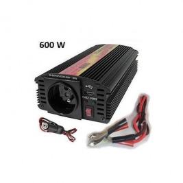 Měnič napětí Carspa CAR600U-122 12V/230V+USB 600W, modifikovaná sinus
