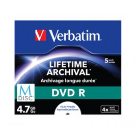 VERBATIM DVD R 4,7 GB (120min) M-Disc 4x Printable jewel box, 5ks/pack